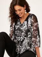 Tunique florale effet drapé et manches ¾, Noir, hi-res