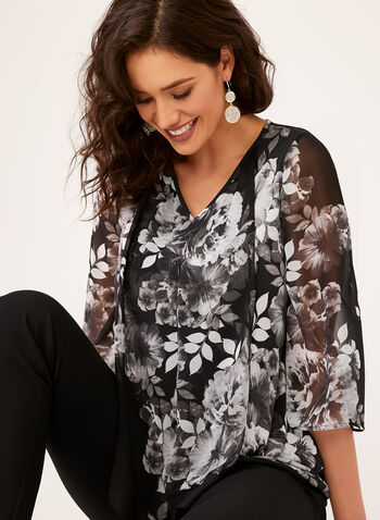 Floral Print ¾ Sleeve Top , Black, hi-res