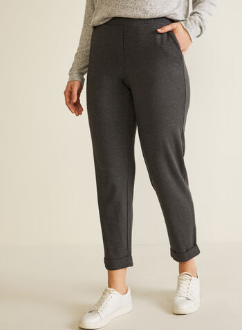 Straight Leg Pull-On Pants, Grey,  pants, straight leg, pull-on, fall winter 2020