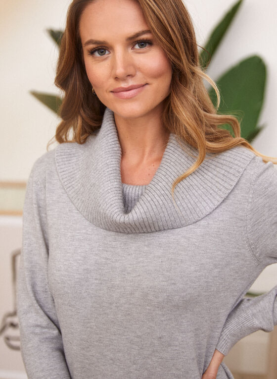 Tunique en tricot à col bénitier, Gris