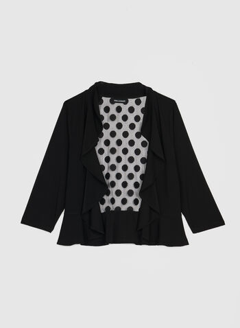 Nina Leonard - 3/4 Sleeve Jersey Bolero, Black,  bolero, 3/4 sleeve, open front, ruffle trim, polka dots, mesh back, fall winter 2019