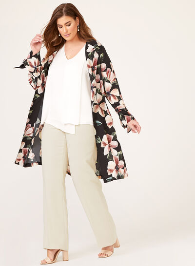Frank Lyman - Floral Print Open Front Duster