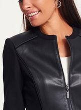 Veste zippée point de Rome et aspect cuir, Noir, hi-res
