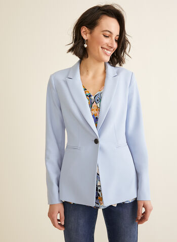 Notch Collar Single-Button Jacket, Blue,  jacket, notch collar, single button, long sleeves, buttons, metallic, shoulder pads, spring summer 2020