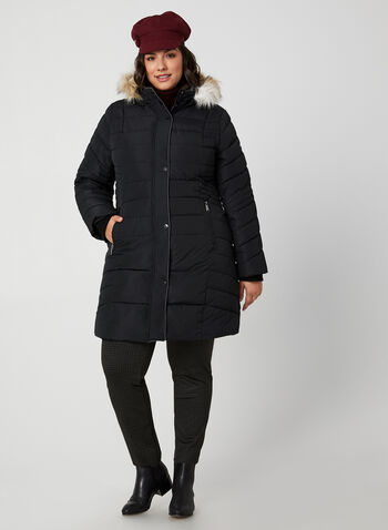 Novelti - Quilted Coat With Hood, Black,  coat, quilted, long sleeves, removable hood, faux fur, vegan lining, winter 2019