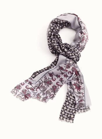 Foulard à motif rétro floral, Rose, hi-res