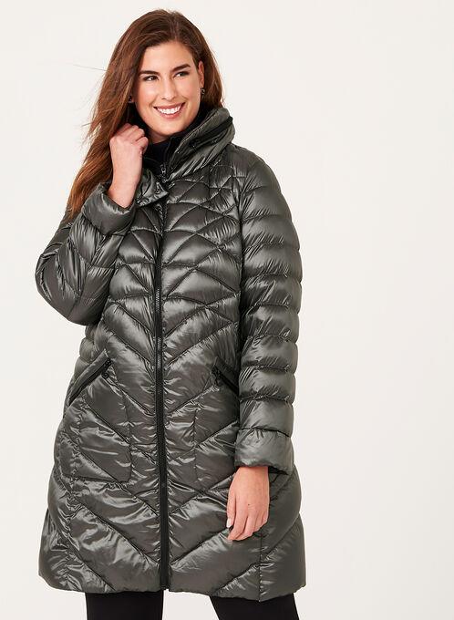 B by Bernardo - PrimaLoft® & Down Filled Packable Coat , Green, hi-res