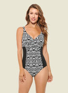 Christina - Abstract Print One-Piece Swimsuit, Black
