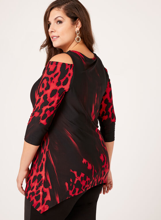Animal Print Cold Shoulder Top , Black, hi-res