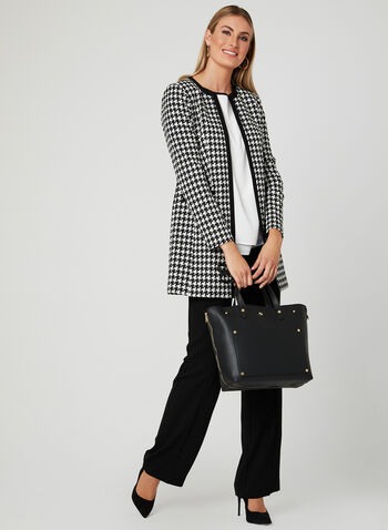 Houndstooth Print Open Front Jacket , Black, hi-res