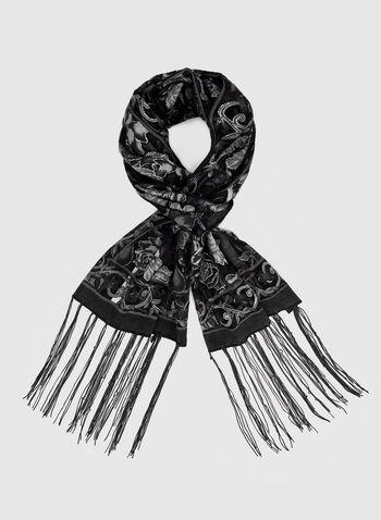 Glitter Rose Print Scarf, Grey,  glitter, rose print, floral print, print scarf, scarf, fall 2019, winter 2019