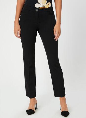 Pantalon coupe moderne à jambe droite, Noir, hi-res,  pantalon, jambe droite, moderne, pinces, fausses poches, automne hiver 2019