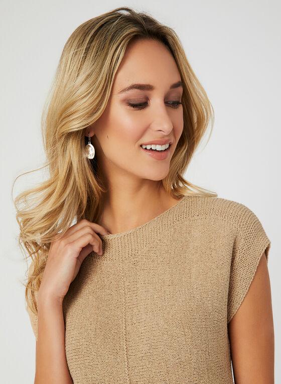 Drop Shoulder Knit Top, Brown, hi-res