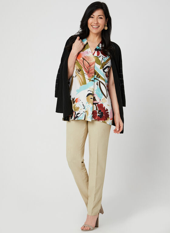 Abstract Floral Print Blouse, White, hi-res