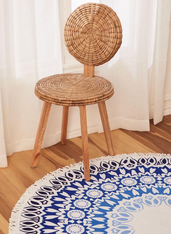 Round Abstract Print Beach Towel, Blue