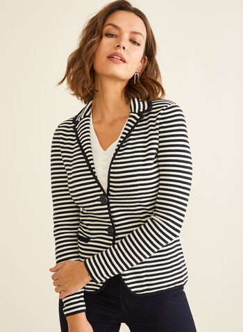 Striped Knit Blazer, Blue,  knit, sweater, blazer, long sleeves, striped, spring 2020