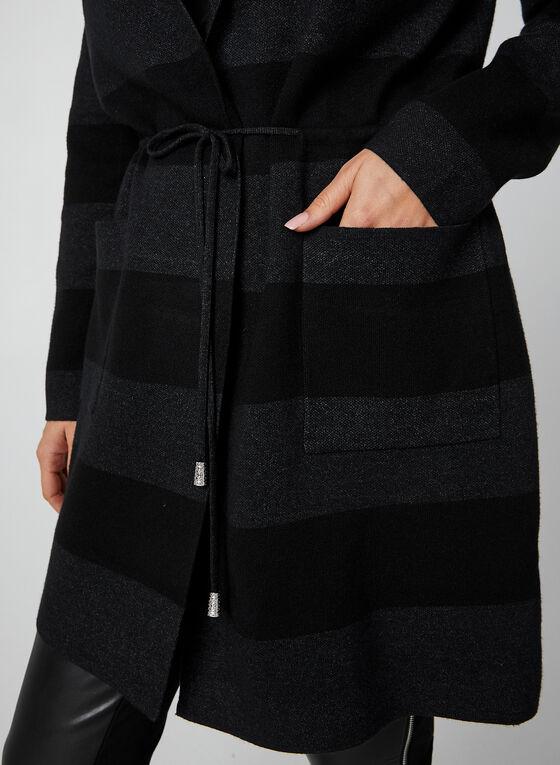 Wide Stripe Knit Cardigan, Black, hi-res