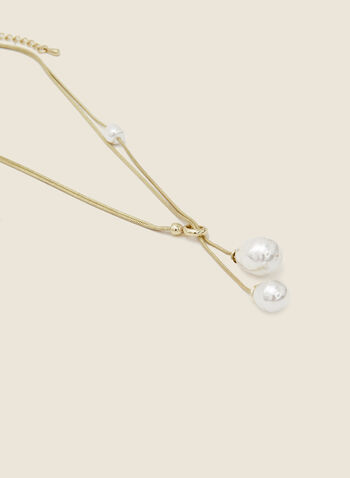 Double Pearl Pendant Necklace, Off White,  necklace, pearl, pendant, snake chain, fall winter 2020