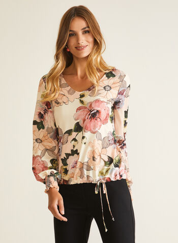 Floral Print Balloon Sleeve Top, Multi,  top, balloon sleeves, floral, v-neck, smocked, jersey, fall winter 2020