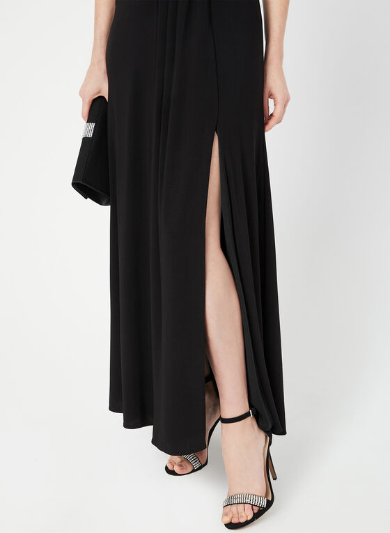 Sleeveless Empire Waist Gown, Black, hi-res