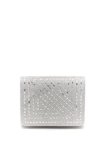 Square Foldover Glitter Clutch, Silver, hi-res