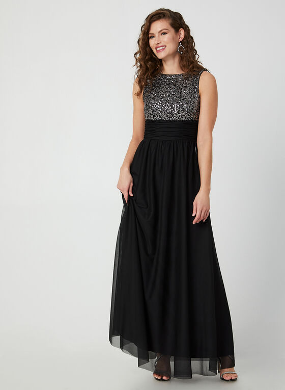 Robe à sequins et jupe en maille filet, Noir, hi-res