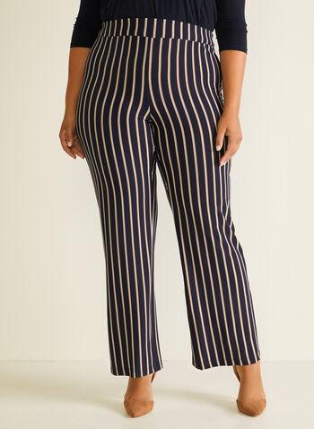 Stripe Print Wide Leg Pants, Blue,  pants, wide leg, stripe print, spring summer 2020