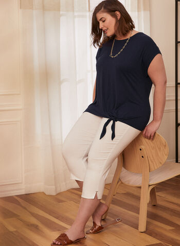 Tie Detail Top, Blue,  spring summer 2021, tee, top, knot, bow, crew neck, boat neck, short sleeve