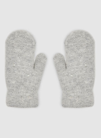 Snowflake Print Mitts, Grey,  mitts, gloves, wool mitts, rhinestones, pearls, pearl mitts, fall 2019, winter 2019