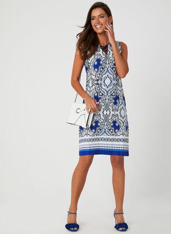 Studio One - Textured Print Dress, Blue, hi-res,  Studio One, day dress, sleeveless, jersey, textured, print, spring 2019, summer 2019