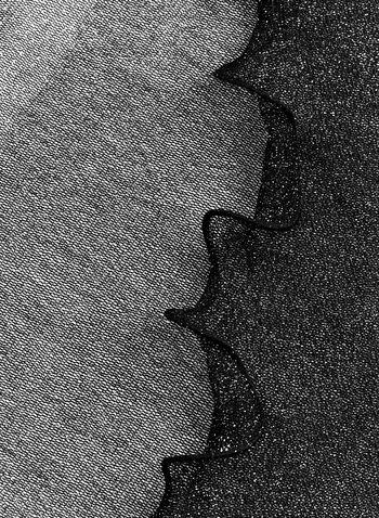 Foulard léger brillant à franges, Noir, hi-res