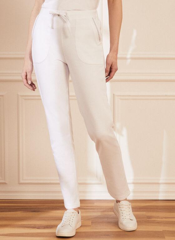 Pantalon pull-on à bordure métallisée , Blanc