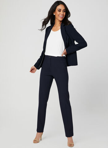 Pantalon coupe signature à jambe droite, Bleu,  dress pants