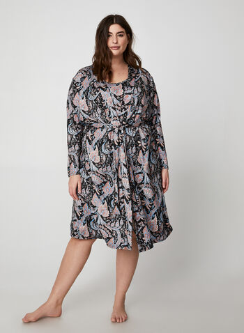 Hamilton - Paisley Print Robe & Nightgown Two-Piece Set, Black, hi-res,  canada, sleepwear, nightgown, robe, paisley print, two-piece set, long sleeves, pyjama, fall 2019, winter 2019
