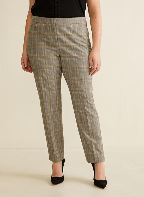 Pantalon coupe moderne à carreaux, Noir