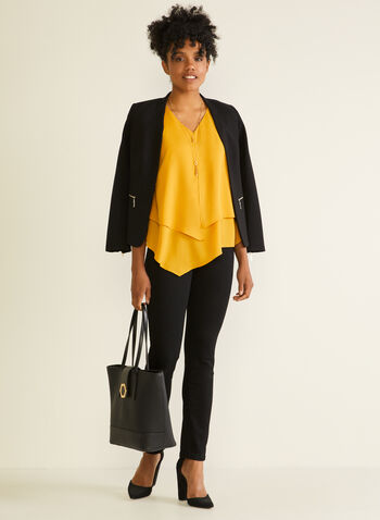 Sleeveless Layered Crepe Blouse, Yellow,  blouse, sleeveless, layered, crepe, v-neck, spring summer 2020