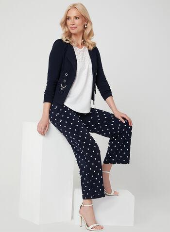 Pantalon pull-on jambe large à pois, Bleu, hi-res,  Canada, palazzo, motif, motifs, taille élastique