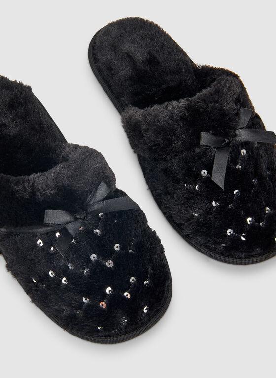 Sequin Detailed Slippers, Black