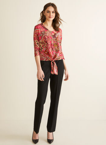 Paisley Print Jersey Top, Red,  spring summer 2020, top, 3/4 sleeves, tie detail, paisley print, made in canada