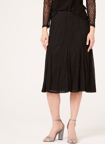Chiffon Dot Print Skirt , , hi-res