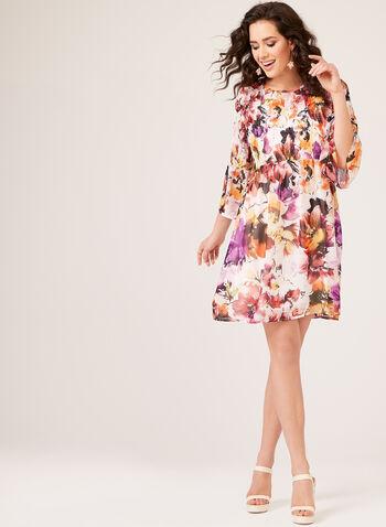 Floral Print Chiffon Dress, White, hi-res