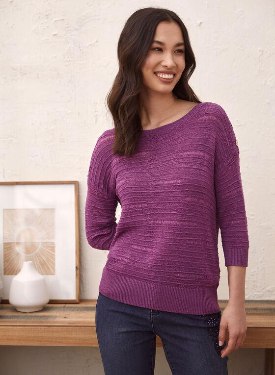Button Detail Tape Yarn Sweater, Purple