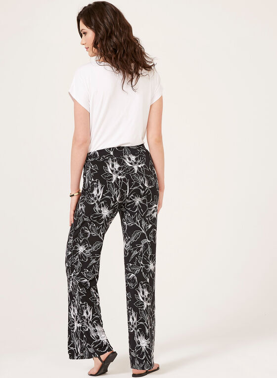 Abstract Print Pull-On Wide Leg Pants, Black, hi-res