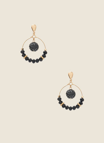 Ring & Bead Earrings, Black,  earrings, beads, faceted, ring, metallic, golden, fall winter 2020