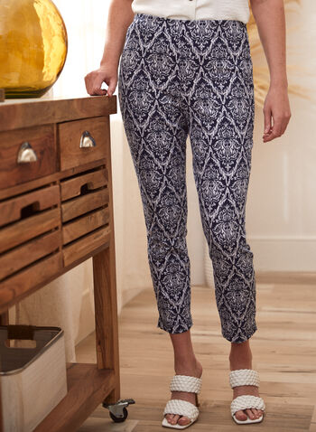 Baroque Print Capri Pants, Blue,  spring summer 2021, pull on, capris, made in Canada, baroque style, bottoms, pants,