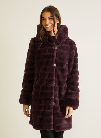 Reversible Faux Fur Coat, Red,  coat, faux fur, waterproof, reversible, hood, pockets, fall winter 2020