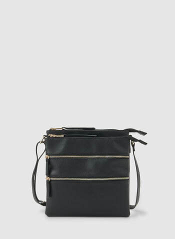Zipper Crossbody Bag, Black,  fall winter 2019, crossbody, faux-leather