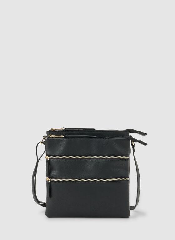 Zipper Crossbody Bag, Black