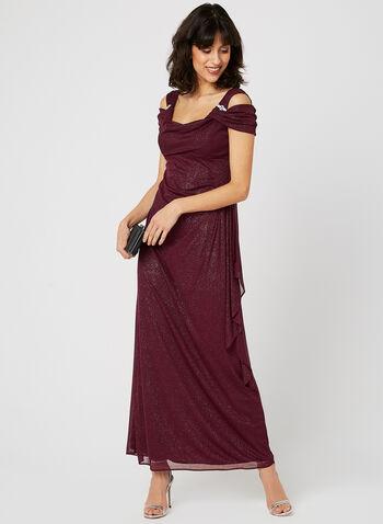 Cold Shoulder Glitter Dress, Red, hi-res