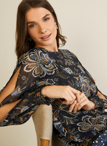 Floral Print Slit Sleeve Blouse, Blue,  top, floral, slit, ruched, long sleeves, fall winter 2020